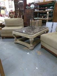 Stunning marble top square coffee table