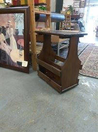 Great vintage magazine rack end table