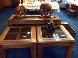 4 piece set two end tables, coffee table and sofa table, oak with tinted glass, all in goof shape