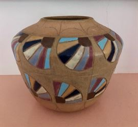 """Handmade earthenware vessel by Leona Yoder Keim Quilt """"Fan IX"""""""