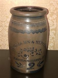 Antique Williams and Reppert Greensboro, PA crock #2 Late 19th c