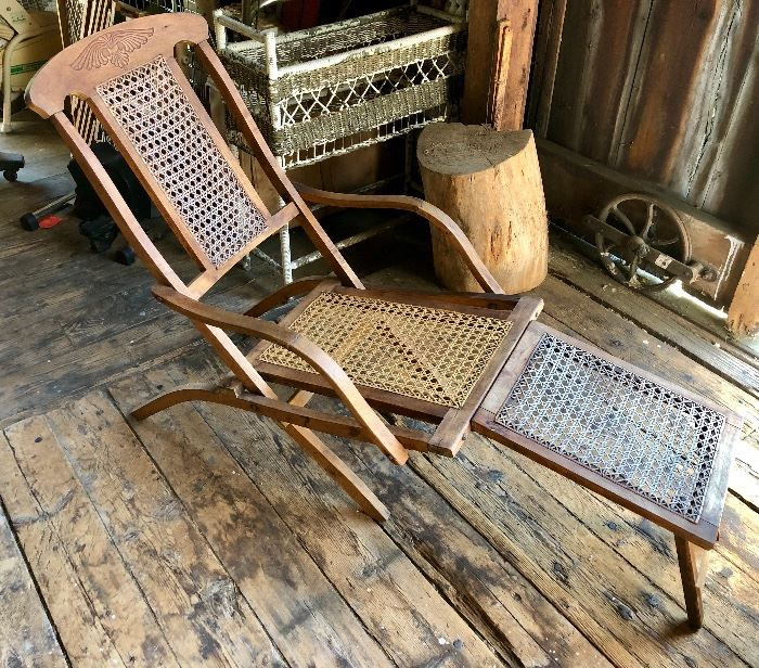 Antique Folding Luxury Wood Steamer Deck Chair, circa 1890, England
