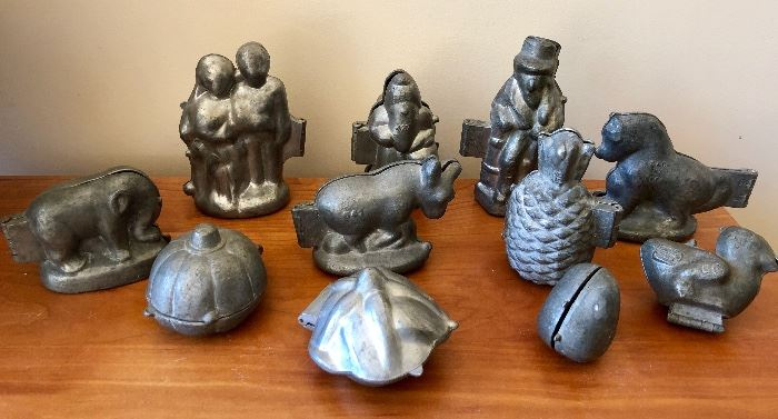 Antique pewter chocolate molds
