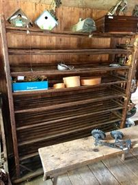 Antique industrial shoe rack from Lowell Mills