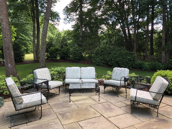 Beautifully restored vintage wrought iron patio set with new custom cushions. Many pieces!