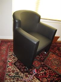 Leather barrel back chair