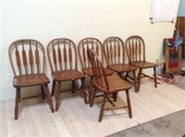 3 Pairs Of Slatback Chairs