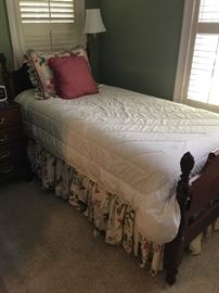 Mahogany twin bed with mattress. One other bedframe without mattress available