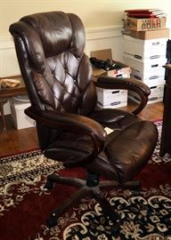 Lane Leather And Wood Adjustable Rolling Office Chair