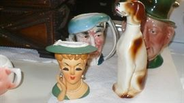 BESWICK PITCHER    RAMDES GERMANY DOG BOTTLE    HEAD VASE