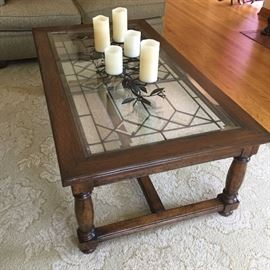 Guy Chaddock leaded-glass and wood coffee table $350