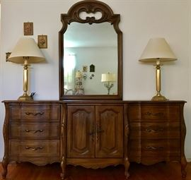 French Provincial Dresser with Mirror, Brass Table Lamps