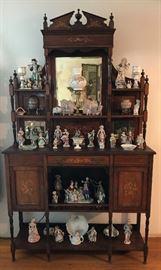 Antique Wood Inlaid Etagere, Ceramic & Bisque Victorian Style Figurines