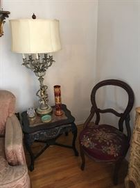 Marble Inset Carved End Table, Balloon Back Needlepoint Chair, Cherub Multi-Light Table Lamp