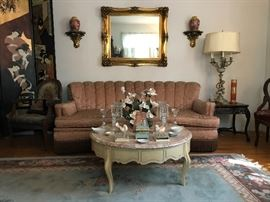 Marble Top French Provincial Coffee Table, Chanel Back Sofa, Gilt Mirror, Asian Ginger Jars