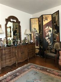 Large French Provincial Dresser with Mirror, Large Four Panel Asian Motif Screen