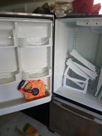 Inside the stainless steel fridge