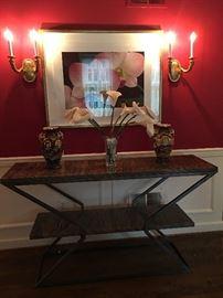 Bill Johnson Custom Made Sofa Table, Signed Artwork, Satsuma Urns