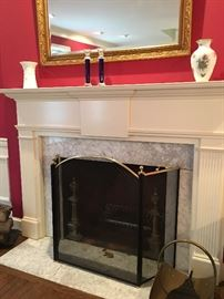 Fire Place Screen, Andirons, Bellows