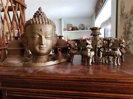 Brass Tray with Sarna Bells and Statue
