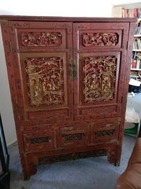 Beautiful Asian Inspired Carved Cabinet