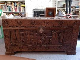 Vintage Carved Asian Inspired Trunk