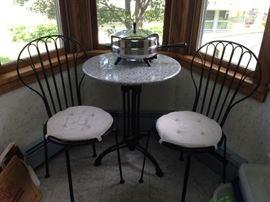 Table & 2 Chairs, Farberware Fry Pan