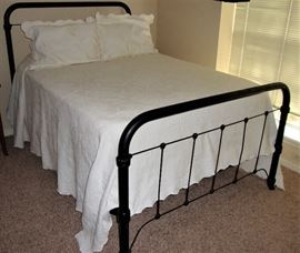 ANTIQUE IRON BED WITH BEDDING