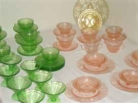 DEPRESSION GLASS - GREEN, PINK, YELLOW