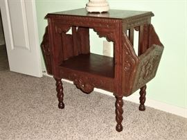 "ANTIQUE ""ORNATE"" MAGAZINE/NEWSPAPER TABLE - BEAUTIFULLY CARVED WITH BARLEY TWIST LEGS. THIS IS A ""MUST SEE"" !"