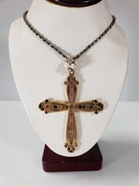 Necklace with 14k Gold Cross Pendant
