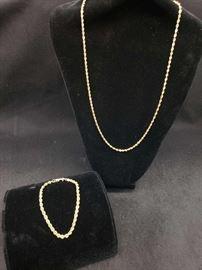 14k Gold Necklace and 14k Gold Bracelets