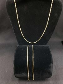 14k Gold Necklace and 2 Bracelets Marked 14k