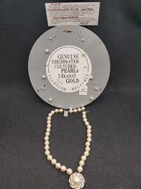 Genuine Fresh Water Cultured Pearl & 14K Gold Illusion Necklace