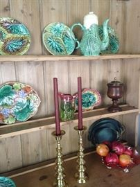 Variety of majolica, brass, and other selections