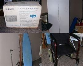 Window AC unit, storage cabinet, ironing board, fishing poles, senior chair