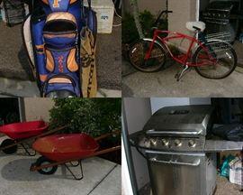 Gators golf bag, Vintage Schwinn Bike, Wheel barrels, Gas Grill