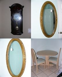 Westminster Wall Clock, A pair of Victorian Oval Mirrors, nice kitchen table set