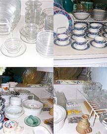Arcoroc & Duralexx Glass Plate Set Made in France, Sango Spring Jewell Dish Set, Corning ware, Pyrex,