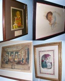 "Little Girl w/doll painting with 1946 Calandar, Antique Bessie Pease Gutman Litho ""A Little Bit of Heavin"" Print #650 cir. 1916, 18th Century ""The Evening at the Dress Ball at the House of Monsier de Villemorien Fila,"