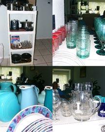 Faberware pot and pans, Hall Pitchers, Fiesta Pitcher
