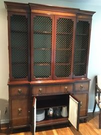 Kittinger school breakfront features mahogany construction with satinwood inlaid banding, four door upper china cabinet with adjustable shelves; lower with three upper drawers over 4 lower cabinets  locking and with key 20th century. with lions head drawer pulls BUY IT NOW $495