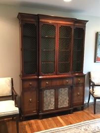 "Kittinger School Satinwood Inlaid Mahogany Breakfront China Cabinet  61"" W x 17 D x 87""H comes in 2 pieces BUY IT NOW $495"