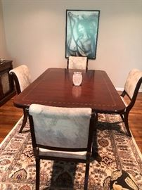 "Mahoghany Dining Room Table, with Satinwood finish with 2 leaves 6 Chairs and Table pads Table measures 44 x 70 with 2 18"" leaves in housing. BUY IT NOW Price $495"