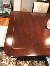 """Mahoghany Dining Room Table, with Satinwood finish with 2 leaves 6 Chairs and Table pads Table measures 44 x 70 with 2 18"""" leaves in housing. BUY IT NOW Price $495"""