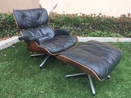 Authentic Charles Eames Chair & Ottoman by Herman Miller. Rosewood Shell and Down Filed. As-is condition.
