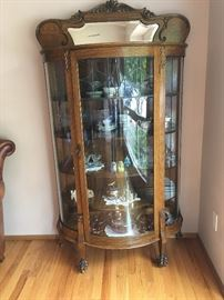 Oak Claw Foot Curio Cabinet