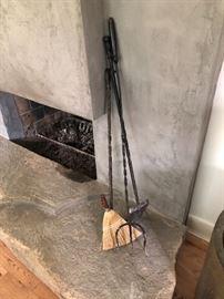 Primitive, tall fireplace set. Beautiful cast iron. One of a kind.  Set of three / $210