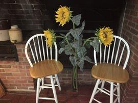 Swivel Oak Chairs & Beautiful Silk Sunflowers!
