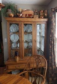Temple Stuart fruit wood china cabinet w/ 2 drawers